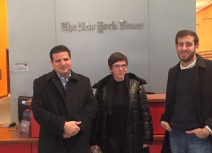 MK Odeh and his staff at the offices of the New York Times