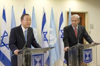 UN Secretary-General Ban Ki-Moon and Israeli Prime Minister Benjamin Netanyahu